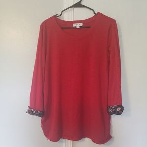 Red 3/4 length sleeve blouse